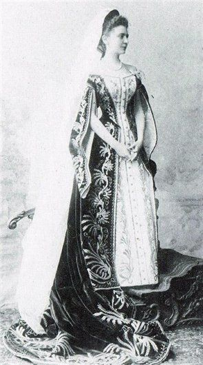 Russian Court dress. Lady-in-Waiting Elizabeth Tolstaya in her Ceremonial Court dress.