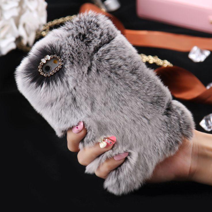 Caso para iphone 7 5S kisscase 100% real de piel de conejo 6 s 6 más pelo de la cubierta del diamante de la mujer femenina de lujo cajas del teléfono para iphone 5 6 s 7