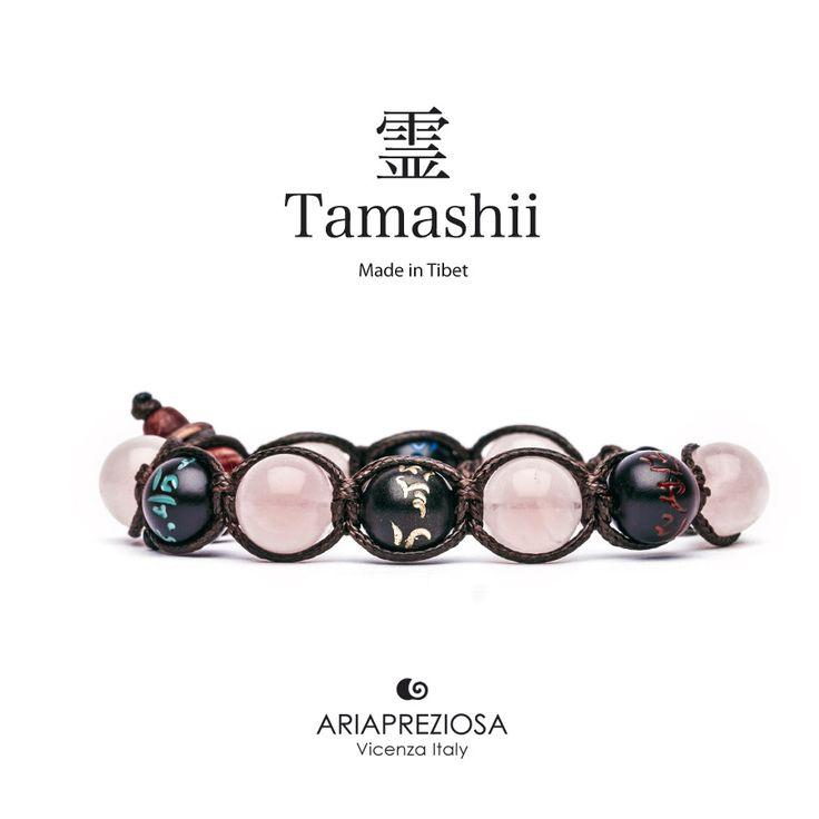 Tamashii - Bracciale originale tibetano (tg. L) realizzato con pietre naturali Quarzo Rosa e legno orientale autentico con SIMBOLI MANTRA incisi a mano