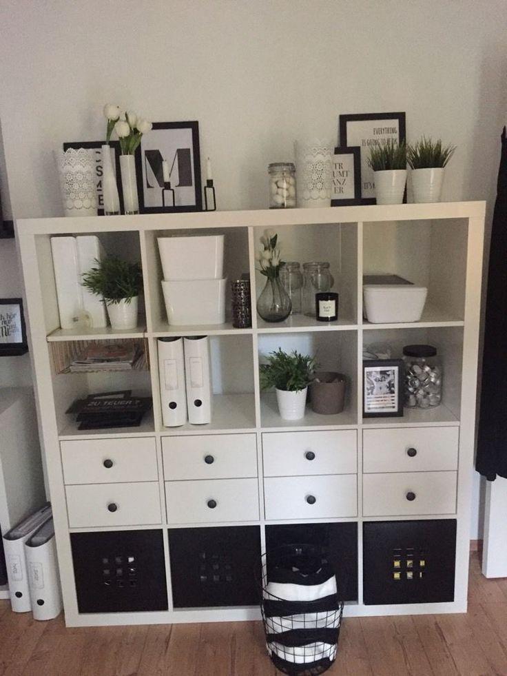 Ikea Kallax Black And White To Do DIY In 2019 Kallax Ikea Living Room Home Office Decor