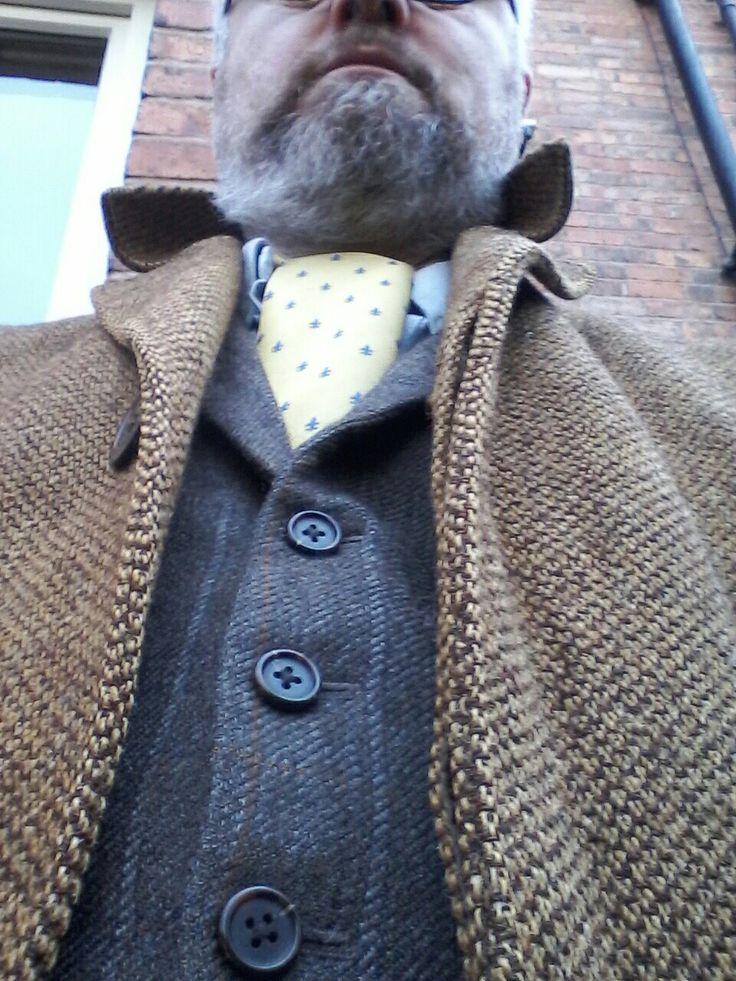 Harris tweed layers with cravat tie