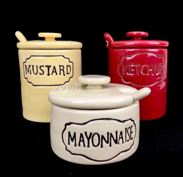 Pottery Barn Ceramic Condiment Containers Mustard Catchup Mayonnaise Older Set