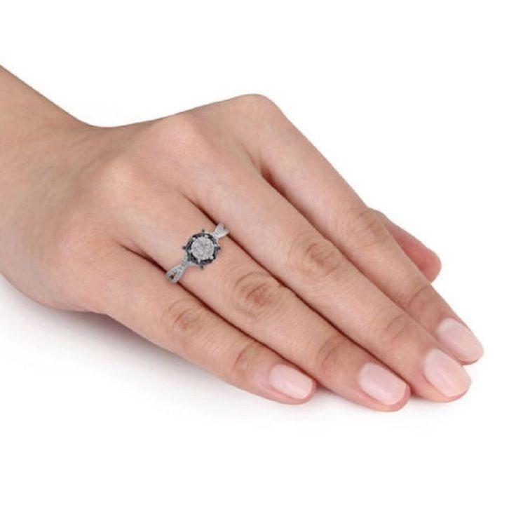 Black Stone Round Cut Set 1.00 ct 14k White Gold Engagement Wedding Women Ring #GoldJewellery17 #Simulated
