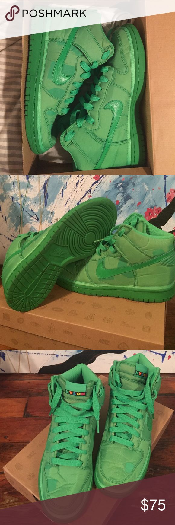 Women's Nike 8.5 high top Nylon Dunk, Green Spark These were worn only 2 or 3 times, and kept in the original box when not worn. Nike made a limited amount for Nylon Magazine. Nike Shoes Sneakers