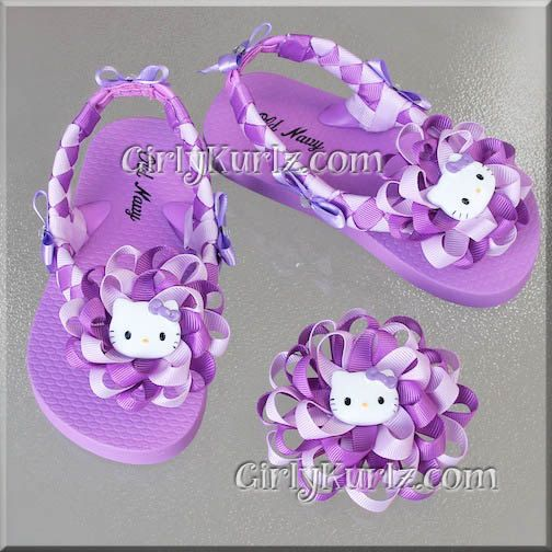 Purple & Lavender Hello Kitty Woven Flip Flops Kid by GirlyKurlz, $40.00