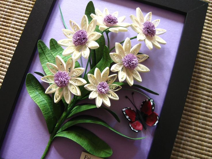 Quilled bouquet of flowers (on a 15x20 cm frame)