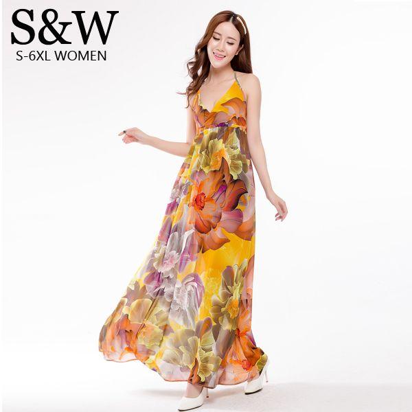 Летнее платье 2016 макси платья с длинным для женщин Большой размер XXXL сексуальное Boho спинки печать цветочные шифоновое платье богемный пляж платье