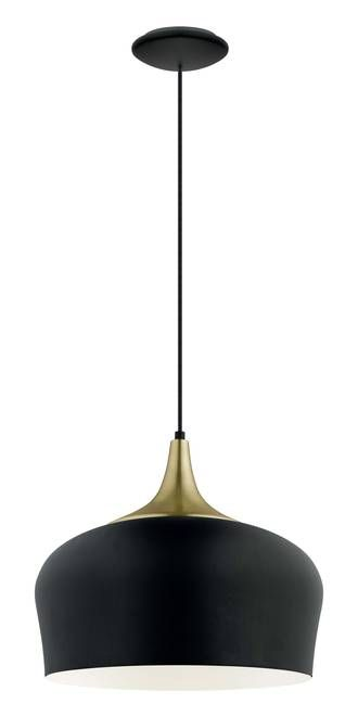 OBREGAN PENDANT BLACK WITH BRASS TOP - Modern Pendants - Pendant Lights - Lighting Direct Limited