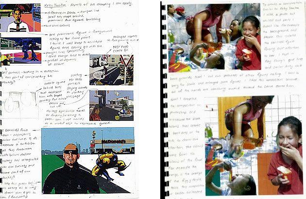 """CUADERNO ARTISTICO DE TÉCNICAS MIXTAS. Es un trabajo que estudia la artista Nikau sobre la representación gráfica en temática """"La comida chatarra"""" y es genial el proceso creativo del mismo, generando un cuaderno artistico de registros de la investigación, exploraciones, reflexiones, muy rico plásticamente."""