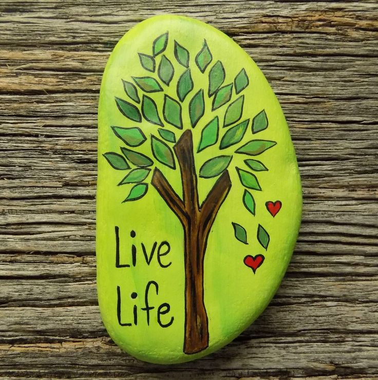 Live Life Tree Painted Rock,Decorative Accent Stone, Paperweight