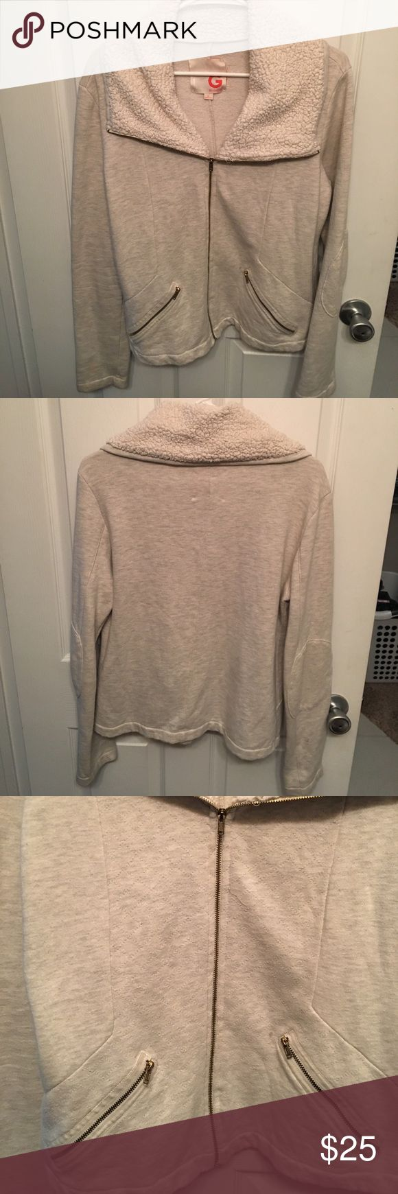 G by Guess beige zip up sweater Perfect for these chilly nights! G by Guess Jackets & Coats