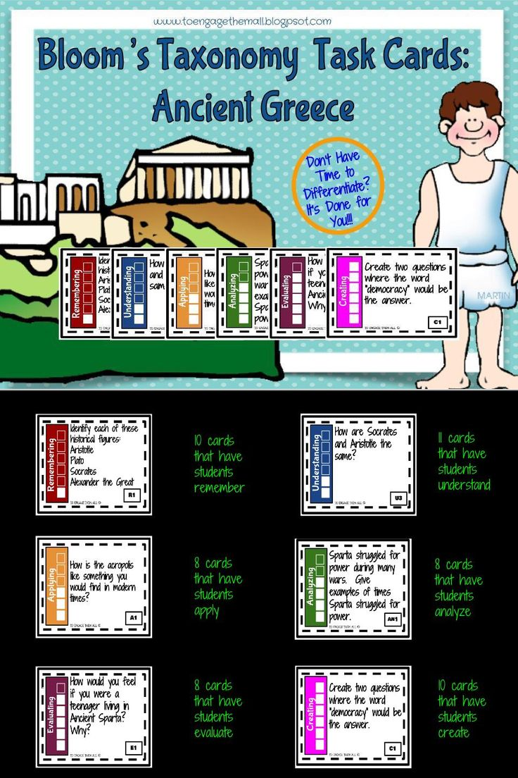 Looking for a way to challenge your students to truly understand and work with the content of ancient Greece ?  This task card set is exactly what you need.  This set is great for an end of unit review, early finishers, and stations.  Students are asked to finish tasks at each of the levels of Bloom's Taxonomy all the while working with the vocabulary, geography, people, and events of ancient Greece.  This can be used with a textbook and/or the internet as a resource.