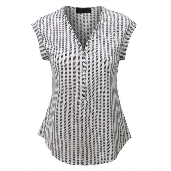 LE3NO Womens Sleeveless Striped Front Zip Up Blouse Top ($19) ❤ liked on Polyvore featuring tops, blouses, zipper front top, stripe blouse, sleeveless tops, zip front top and loose fitting tops