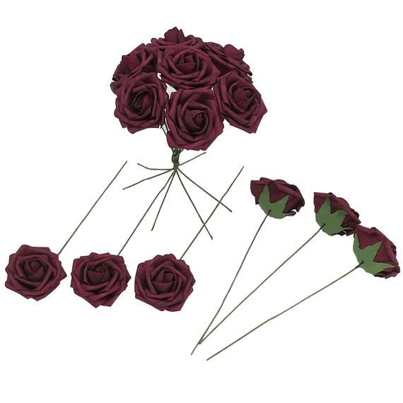 Burgundy Fake Flowers Foam Roses Dark Red Artificial Wedding Flowers for DIY Bridal Bouquet Bridesma