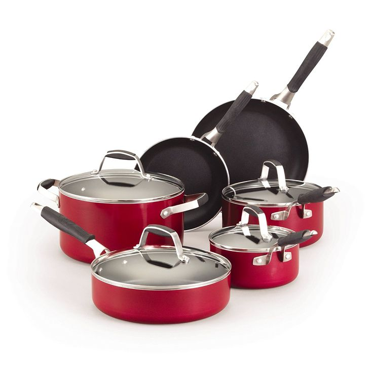 Guy Fieri 5099783 10-Piece Nonstick Cookware Set, Red -- You can find more details by visiting the image link.