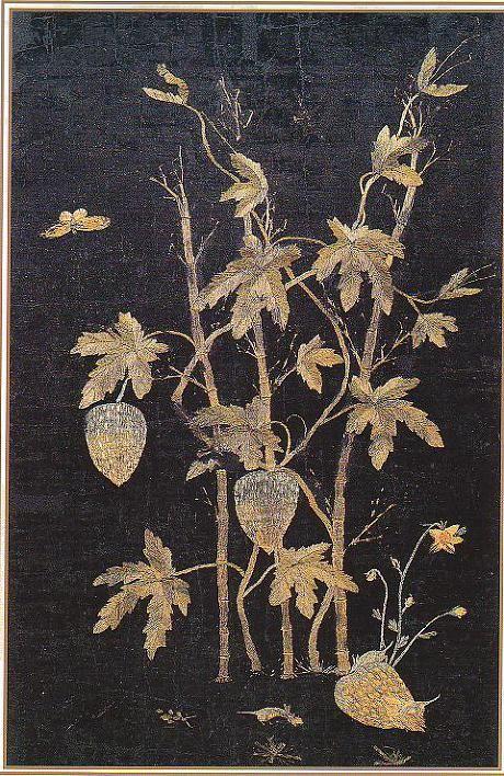 (Korea) Embroidery Folding screens by Shin Saimdang. Donga University Museum. Treasures No.595.