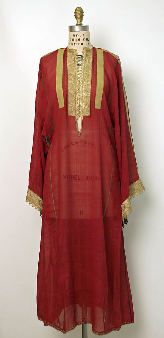 Dress (Underdress) early 19th Century, Greek, silk, metal thread
