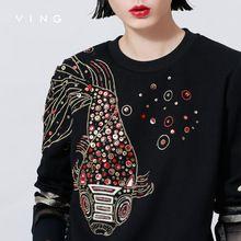 Ving 2015 mulheres o-pescoço bordado de lantejoulas camisola gaze Patchwork moda mulheres bordado(China (Mainland))