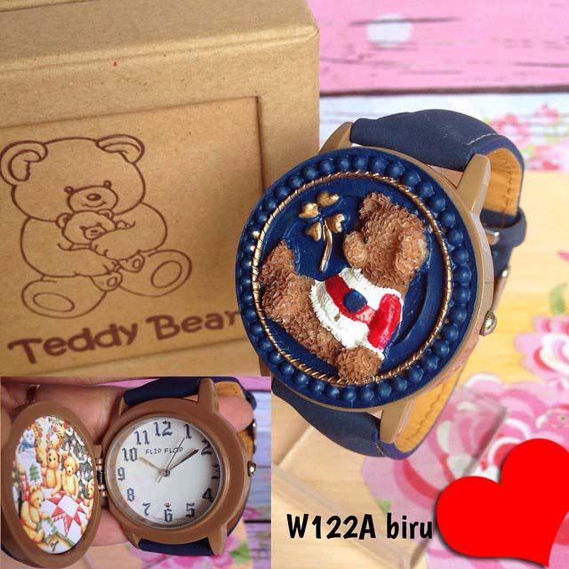 Jam tangan teddy bear || Kode barang :W122A biru || Harga 155ribu || Diameter : 3.8-4cm || Tali : kulit lapis suede || Water resistant: tidak