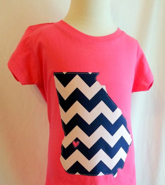 Georgia State Pride T-Shirt Any Size Any Color Shirt Any Fabric State Hometown Shirt Georgia Shirt Chevron Hot Pink Applique Shirt Boys Girls Babies Toddlers Shirt Applique Football