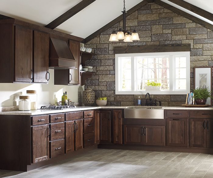 Rustic hickory kitchen cabinets  Our New Kitchen  Pinterest