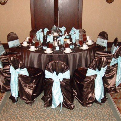 Cheap Taffeta Chocolate Brown Wedding TableCloths Sale