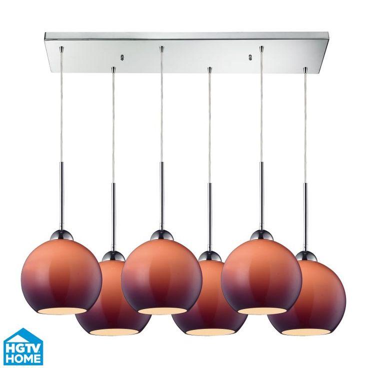 ELK Lighting 10240/6RC-PUR HGTV Home Cassandra Six-Light Mini Pendant Cluster wi Polished Chrome Indoor Lighting Pendants Linear
