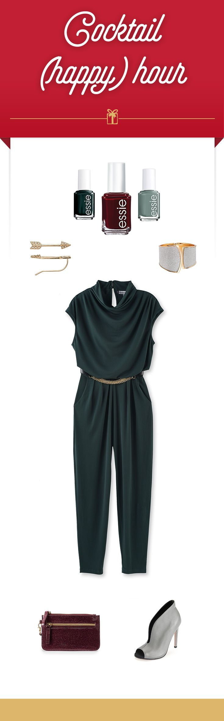 Look no further than the Jennifer Lopez collection for a glam twist on cocktail hour. We love the ease of this figure-flattering, one-and-done jumpsuit. Just add a few key accessories including chic ankle booties and a bold cuff. Outfit items from top to bottom: essie nail polish in Stylenomics, Berry Naughty and For the Twill of It, LC Lauren Conrad arrow earrings, Apt. 9 cuff, Jennifer Lopez jumpsuit, Apt. 9 wristlet, and ShoeMint gray booties. Find this happy hour outfit and more at…