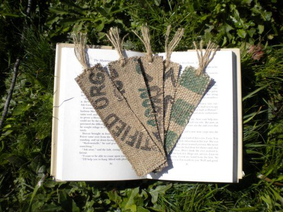 5 Bookmarks Made From Recycled Coffee Sacks by simplyrenewed, $5.00