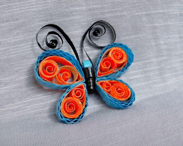 Magnet fluture albastru şi portocaliu