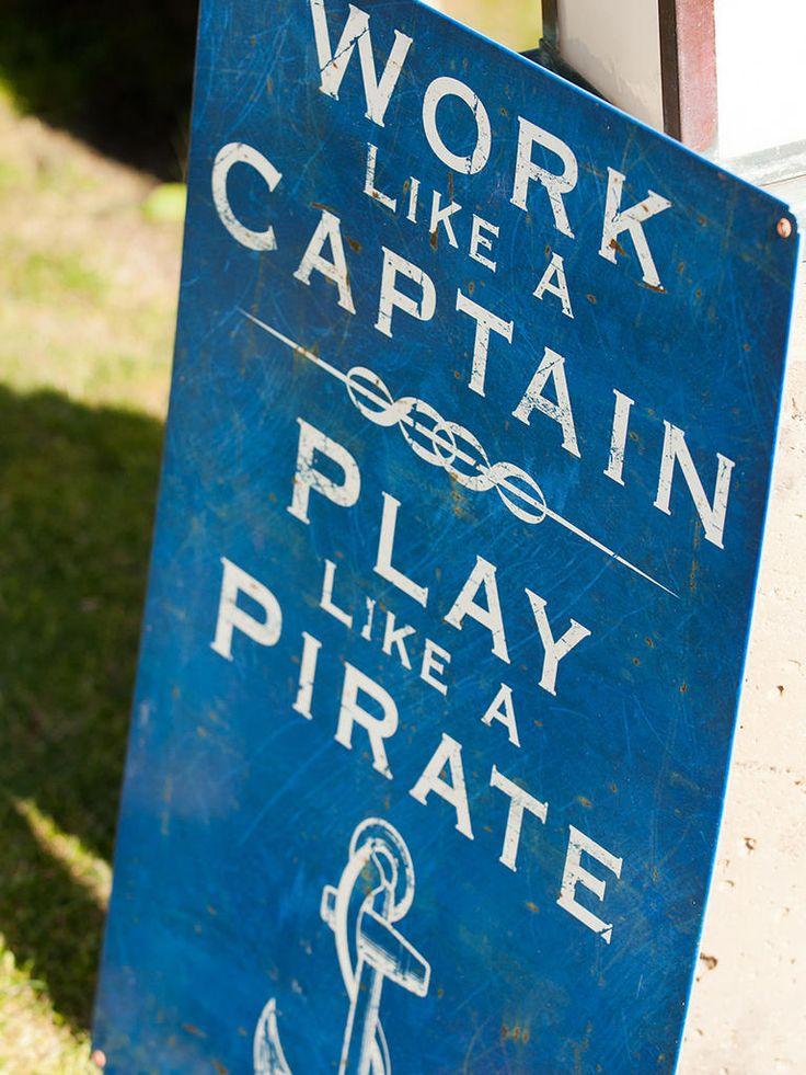 Add a few pieces of funny nautical signage by the bar area for a food bar that gives a few laughs.
