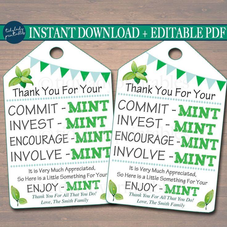 printable thank you tags  volunteer mint labels  printable