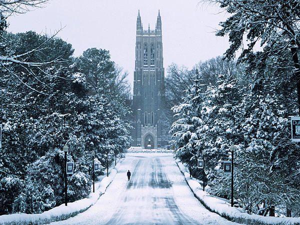 Duke Snowy Chapel Drive Canvas Print / Canvas Art by Duke University