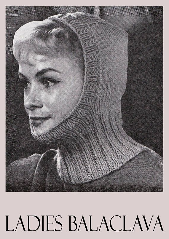 PDF Vintage 1960s Womens Ladies Hat Knitting Pattern Balaclava