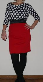 50's kokerrok jurk met polkadots  by moredresses4me.blogspot.nl