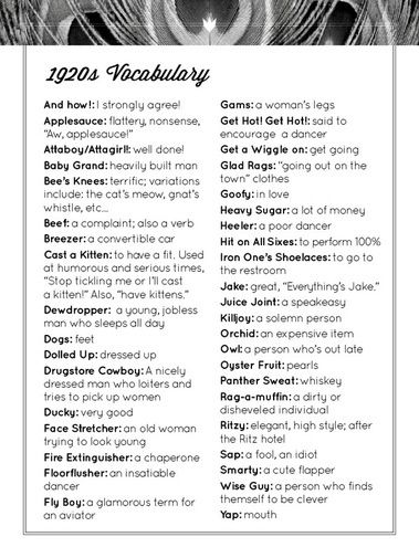 Roaring Twenties Party by Vanessa McKenzie, via Behance - Common vocabulary used in the 20's.  Nice to include in party information so guest can incorporate some of the terms in their conversations.