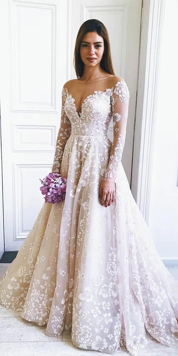 36 Gorgeous A-Line Wedding Dresses ❤️ a line wedding dresses with long sleev…