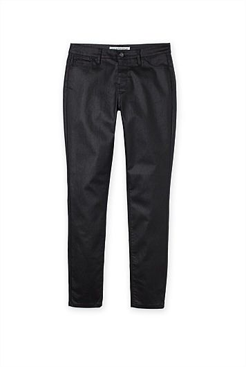 Wet Look Mid Rise Crop Jegging
