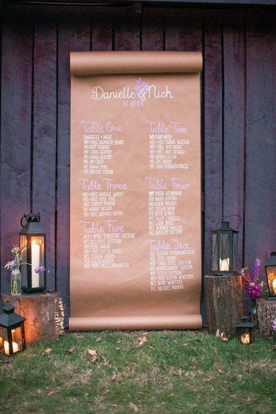 Rustic country fall Kraft Paper wedding seating ideas / http://www.deerpearlflowers.com/rustic-country-kraft-paper-wedding-ideas/