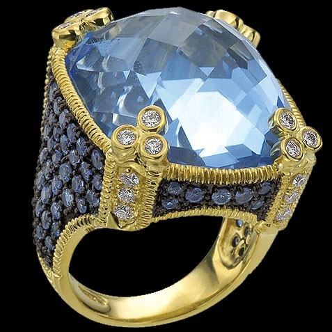 Judith Ripka ring - blue quartz, blue sapphires, and diamonds