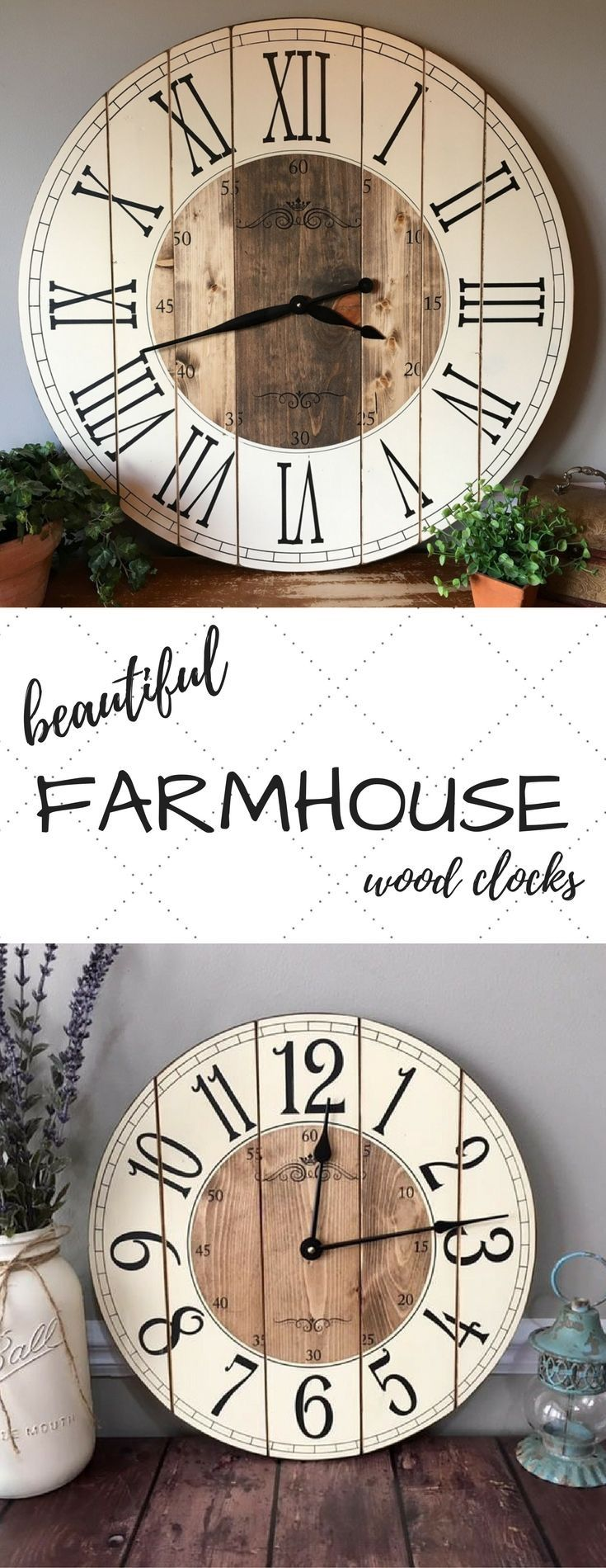 Would love something like this for somewhere in the house.....Large distressed farmhouse wall clock. Rustic farmhouse home decor #kl