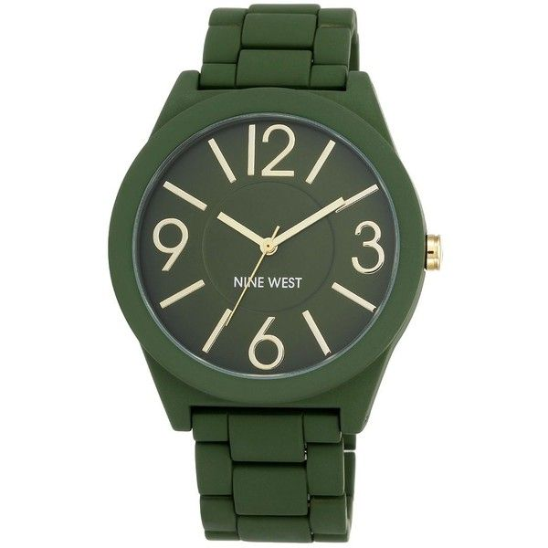 Nine West Rubberized Bracelet Watch ($37) ❤ liked on Polyvore featuring jewelry, watches, green, bracelet watch, rubber watch bracelet, nine west, rubber wrist watch and rubber jewelry
