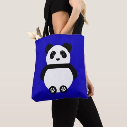 Panda Drawing with a Blue Background Tote Bag - drawing sketch design graphic draw personalize