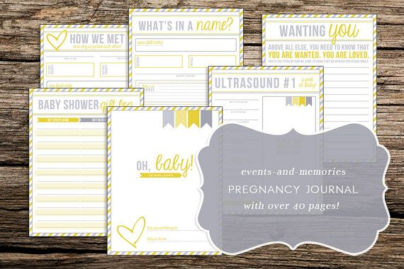 Printable Pregnancy Journal - Use this diary to record special memories from the baby shower, ultrasound, gender reveal party, and more!