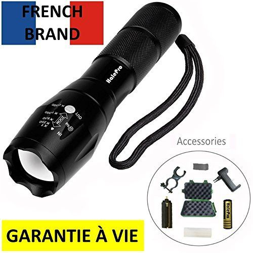 Halepro Torche Lampe de Poche LED, Rechargeable Torche LED-Lampe de Vélo, Lampe de Torche Militaire Poche LED Ultra Puissante Zoomable,…