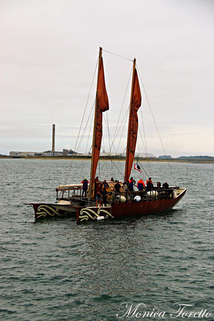 The Haunui Waka arriving in Bluff. April 2014.