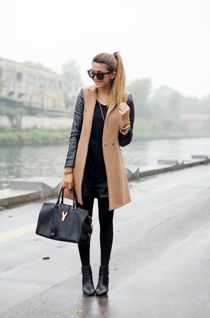 Zara leather shorts, H&M t-shirt, WendyBox coat, YSL bag, Michael Kors watch, and Celine sunglasses.