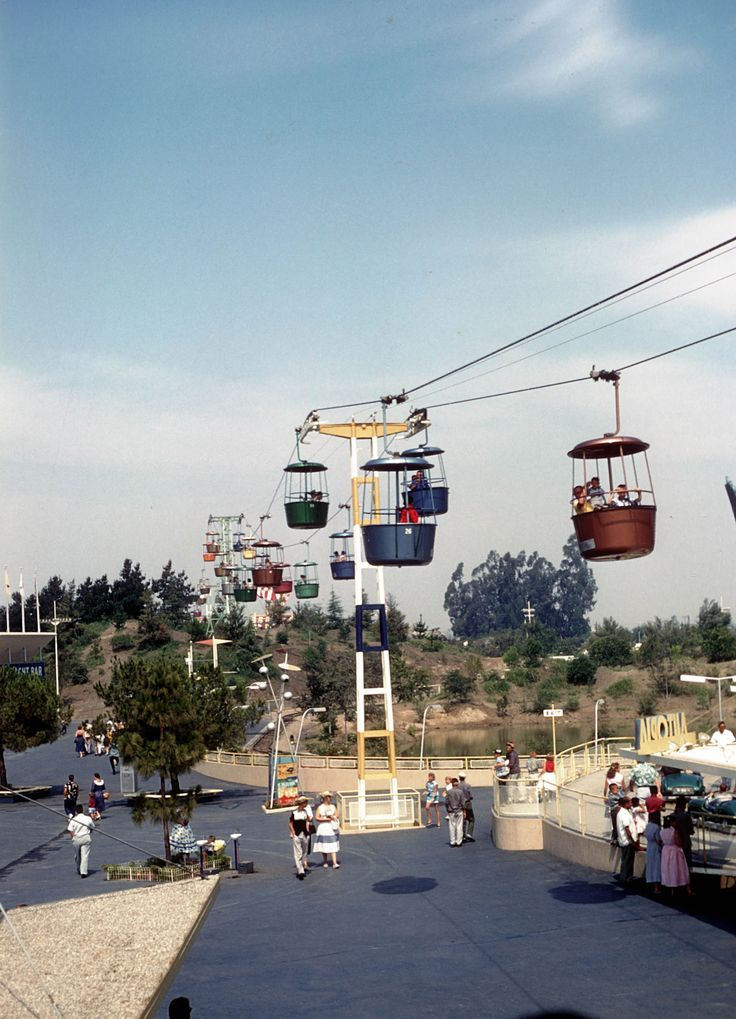 The Disneyland Skyway before the Matterhorn was built (ca. 1956). Note the Autopia entrance at the lower right.
