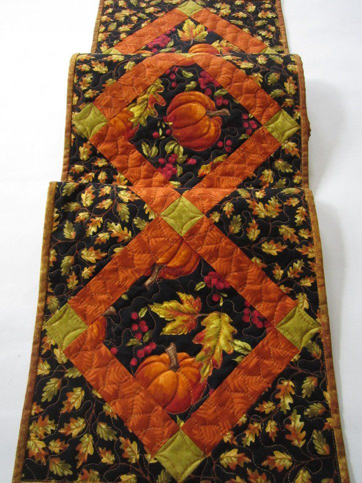 Fall Table Runner with Pumpkins and Oak Leaves by patchworkmountain.com