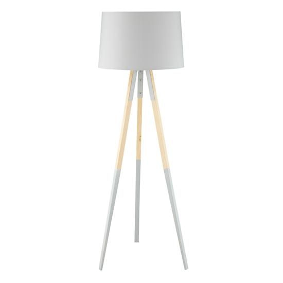 The cinema floor lamp features a modern tripod base with dipped grey legs with a matching grey shade for an elegant look